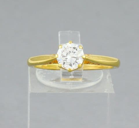 Vintage 18Ct Gold Engagement Ring With Solitaire Diamond 0.63 Carats